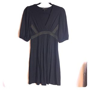 BCBGMaxAzaria Black Short Sleeve Embroidered Dress